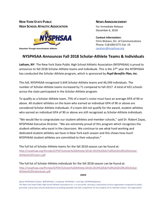 NYSPHSAA Announces Fall 2018 Scholar-Athlete Teams & Individuals