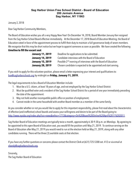 Letter to the Sag Harbor Schools Community Regarding Vacant Board of Education Seat
