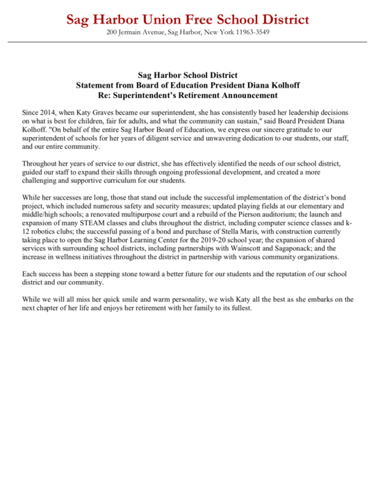 Statement from BoE President