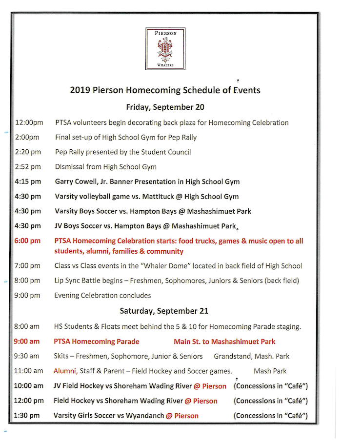 Homecoming 2019 Schedule of Events