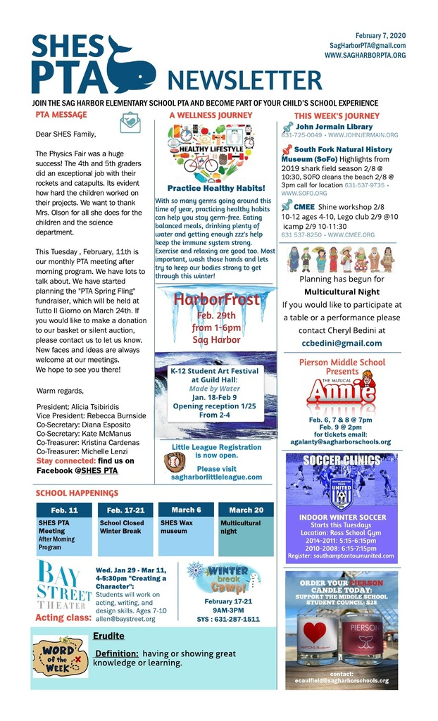 PTA NEwsletter for February 7, 2020