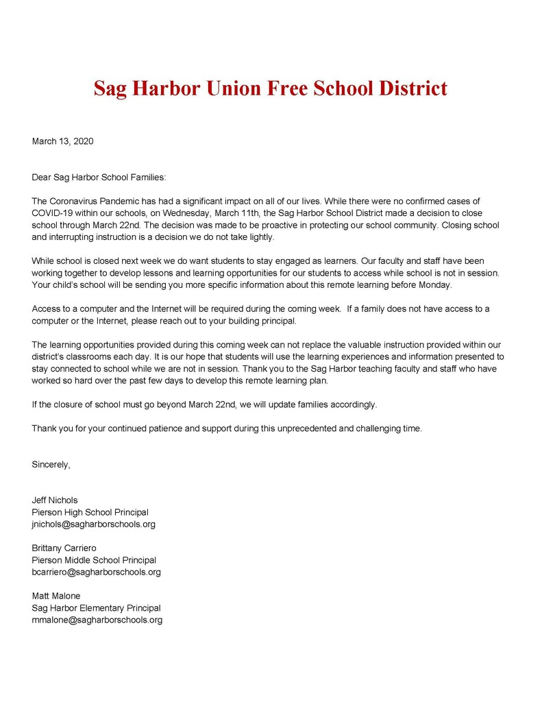 Message to Sag Harbor Students and Families - Remote Instruction - English