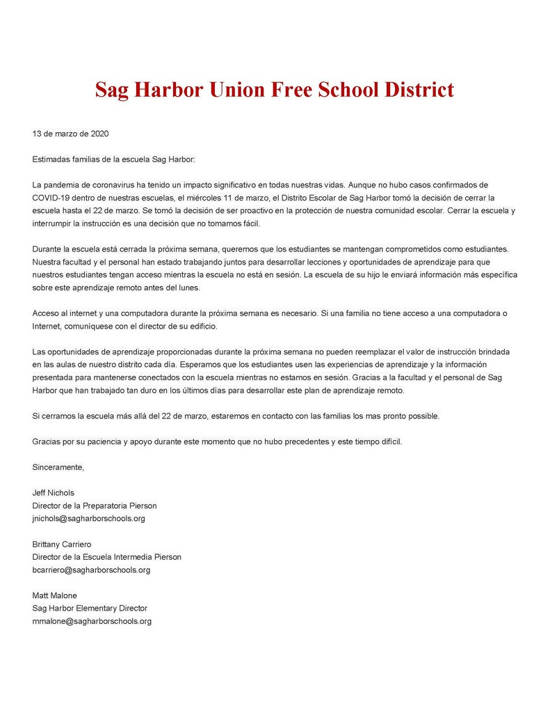 Message to Sag Harbor Students and Families - Remote Instruction